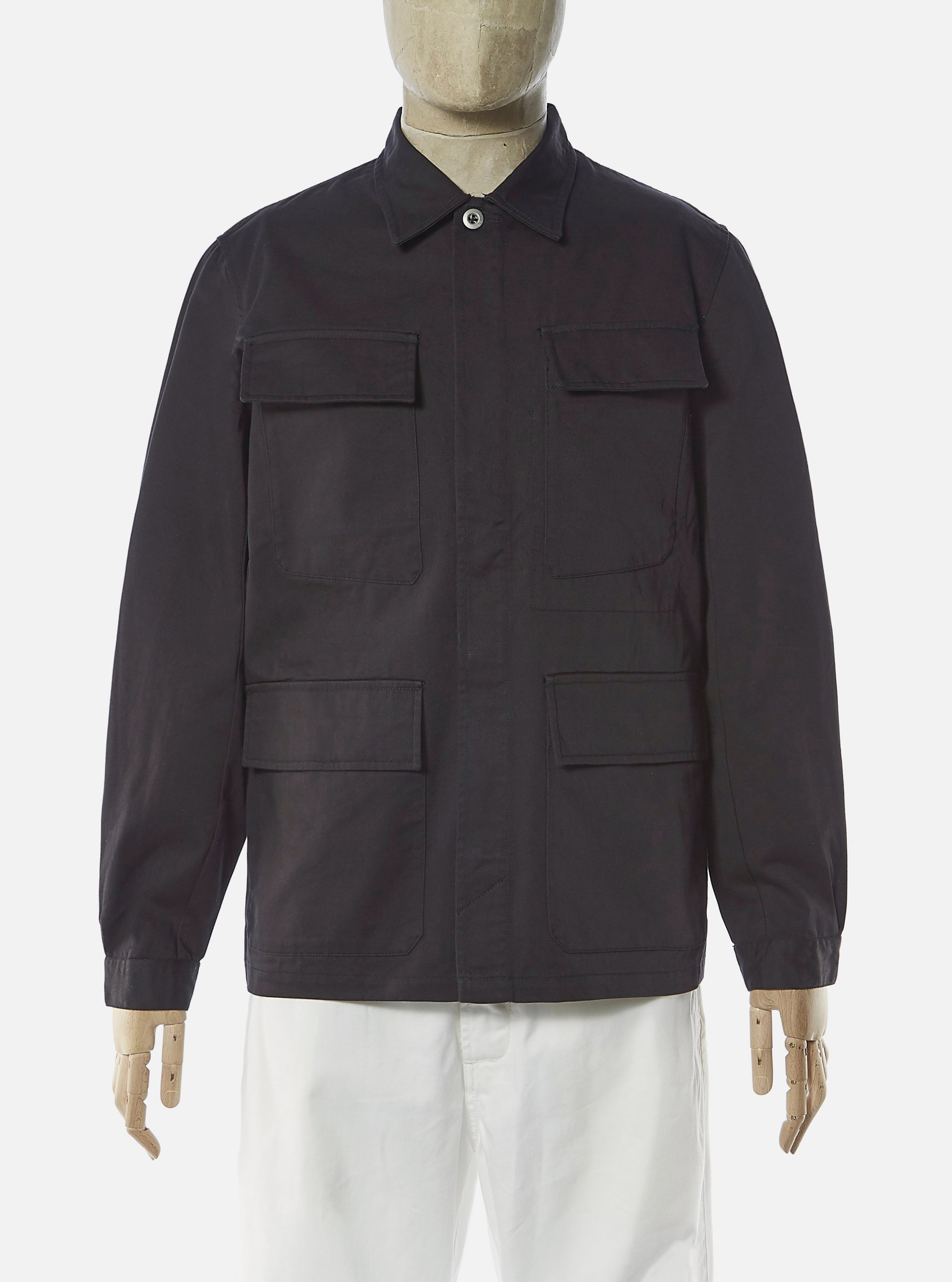 Universal Works MW Fatigue Jacket in Black Twill