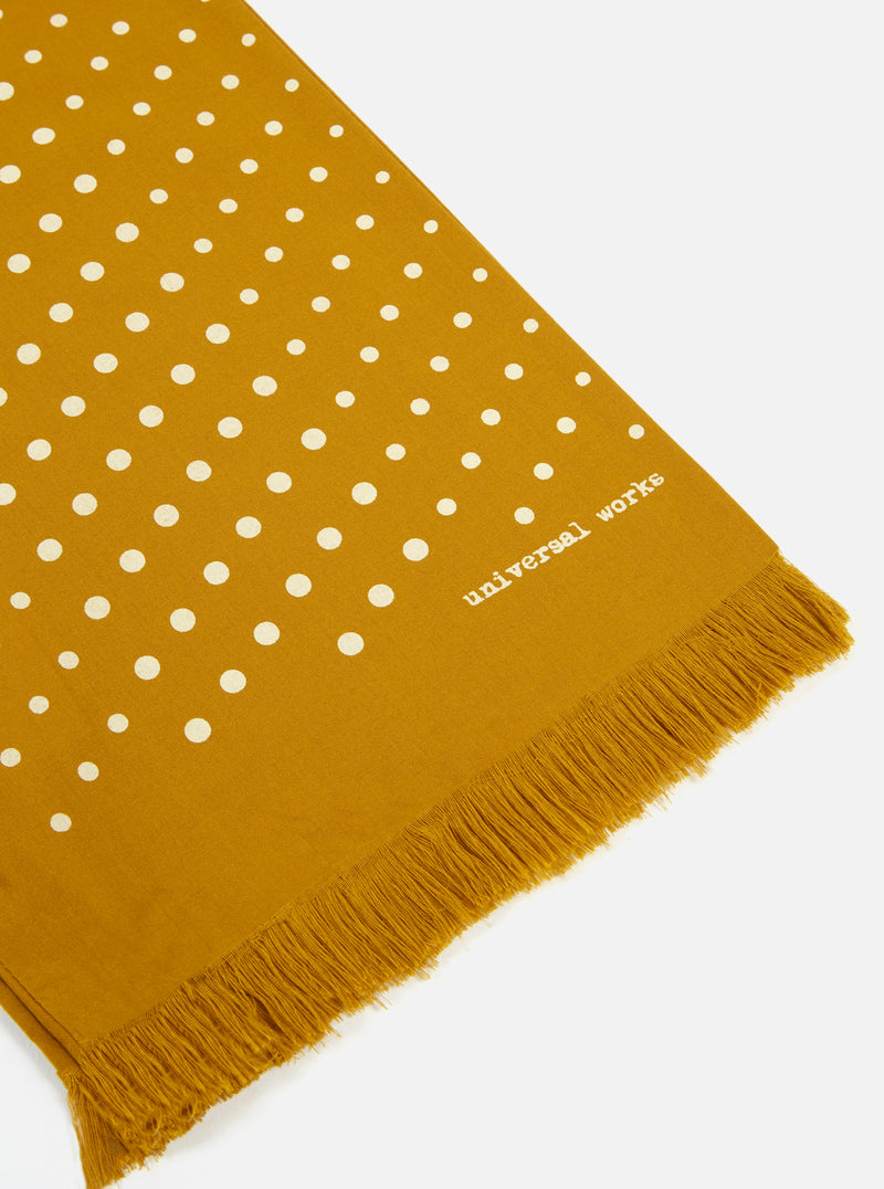 Universal Works Short Scarf in Mustard Dot Print