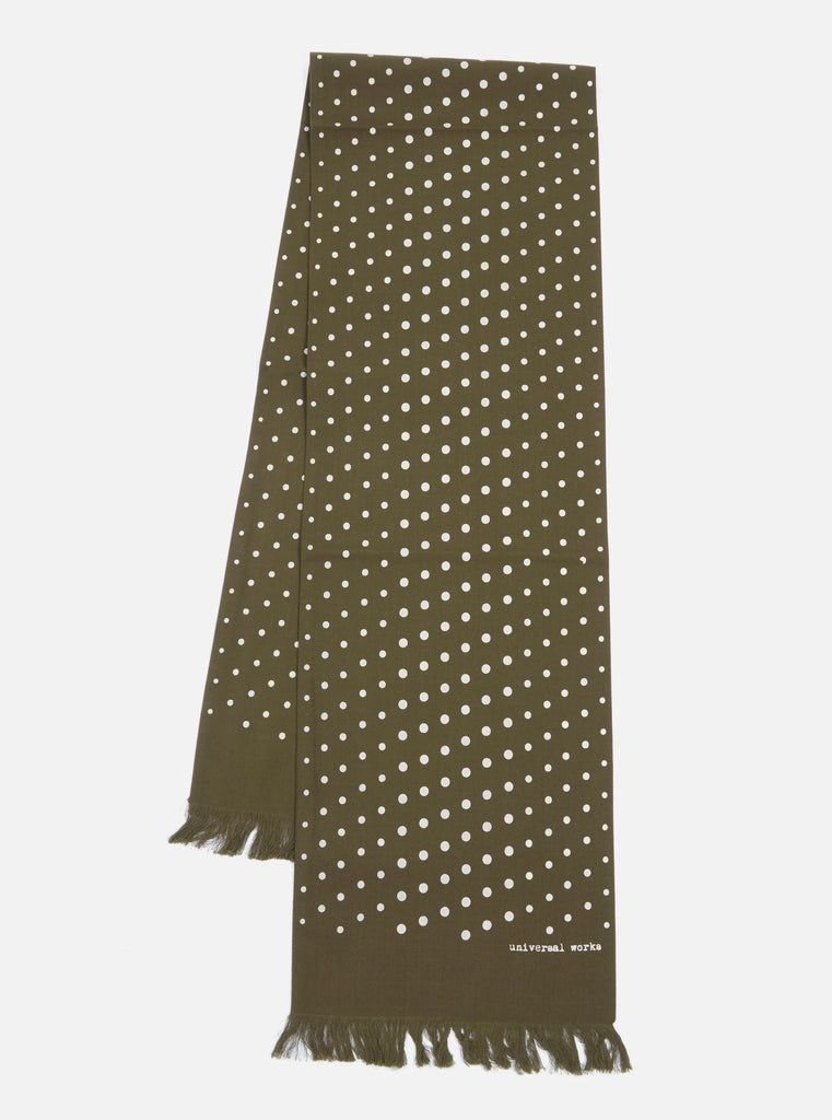 Universal Works Short Scarf in Olive Dot Print
