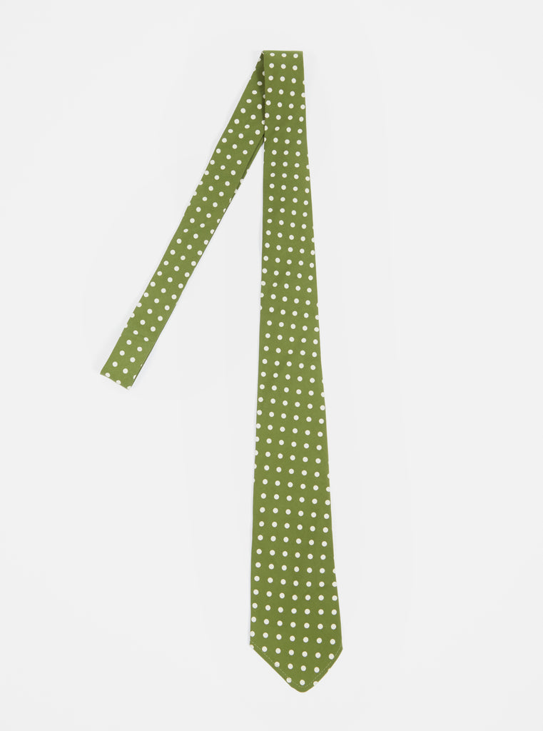 Universal Works Tie in Green Dot Print