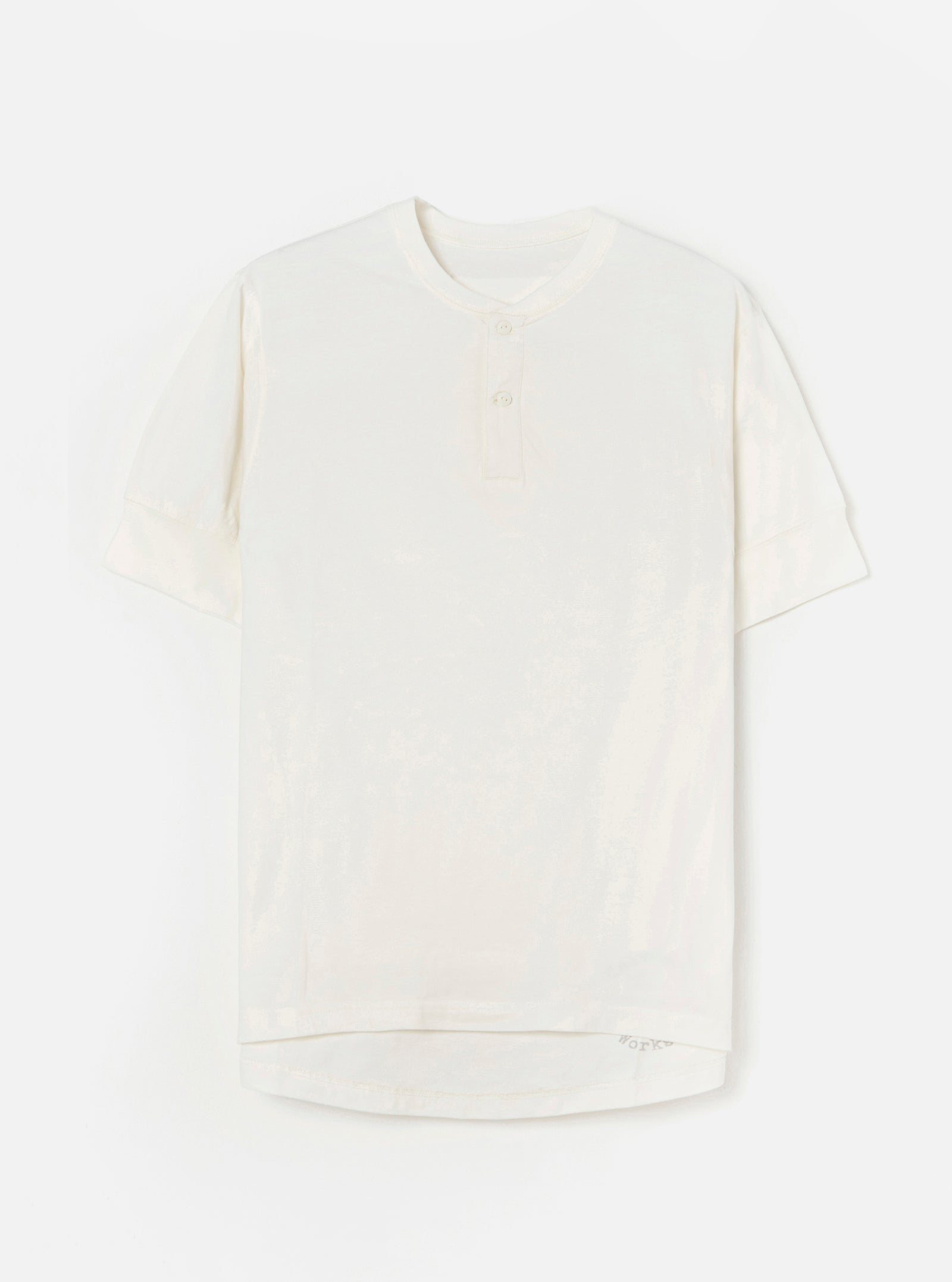 Universal Works S/S Eaton Shirt in Ecru Single Jersey