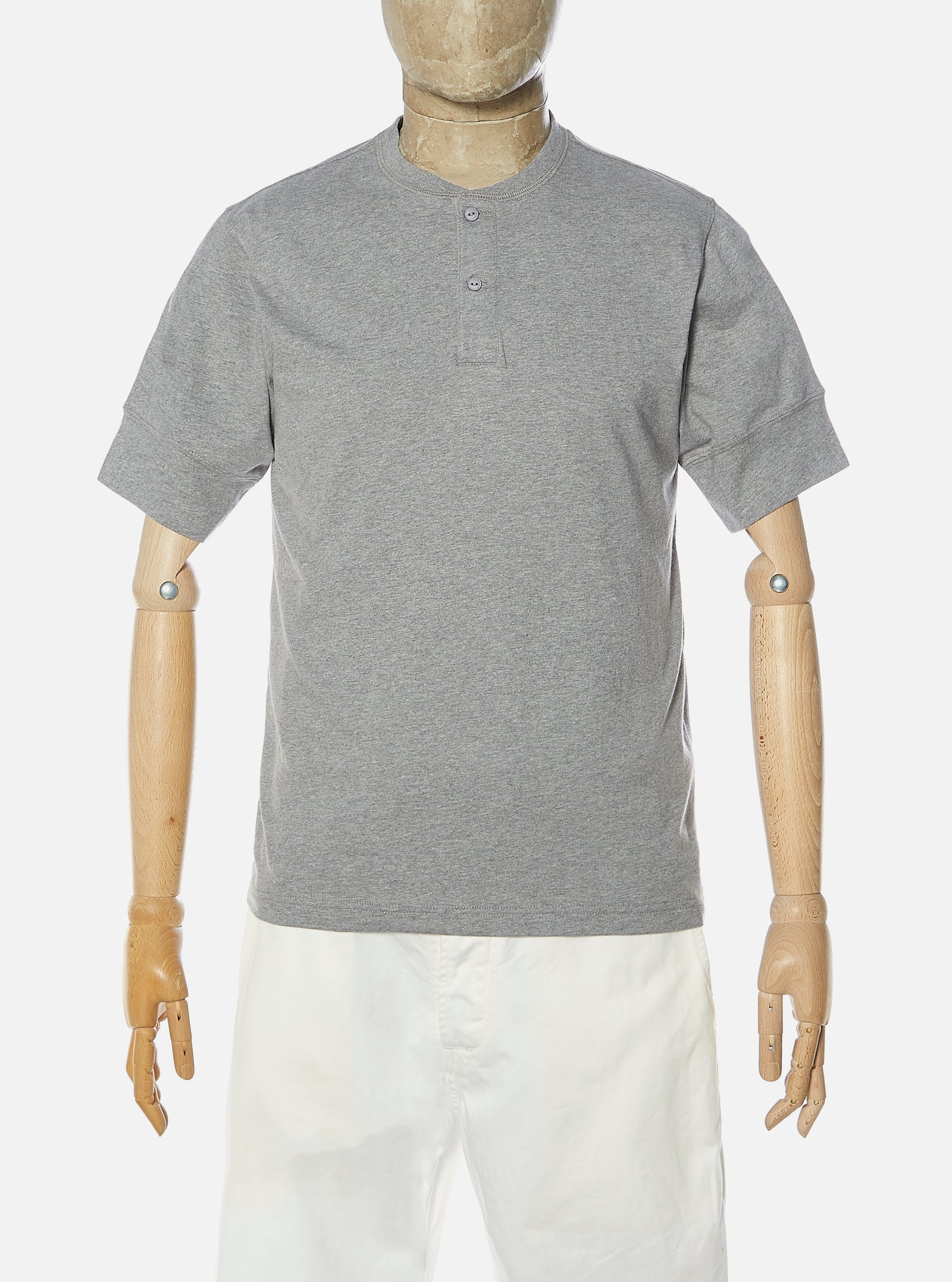 Universal Works S/S Eaton Shirt in Grey Marl Single Jersey