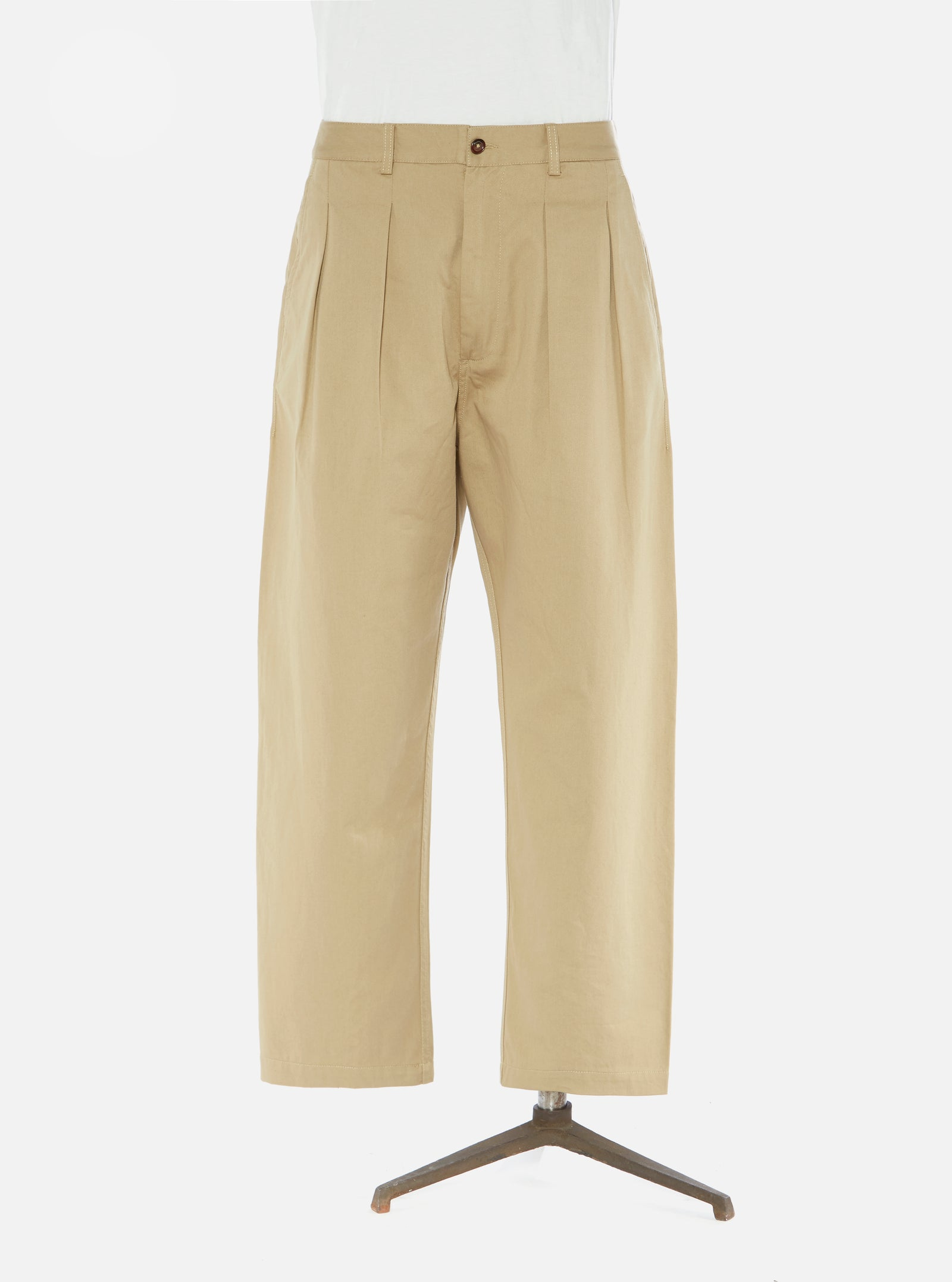 Universal Works Double Pleat Pant in Tan Twill