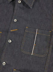 Universal Works Workshop Denim Indigo Bakers Chore Jacket In Selvedge Denim