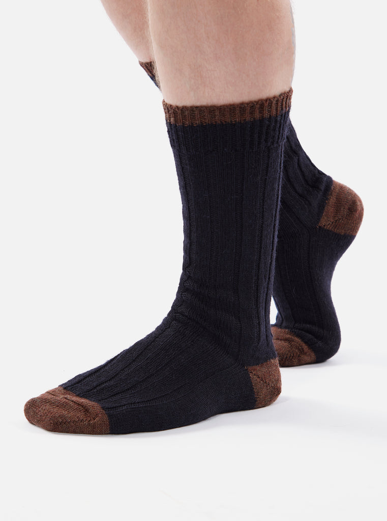 Universal Works Hike Sock In Navy Wool