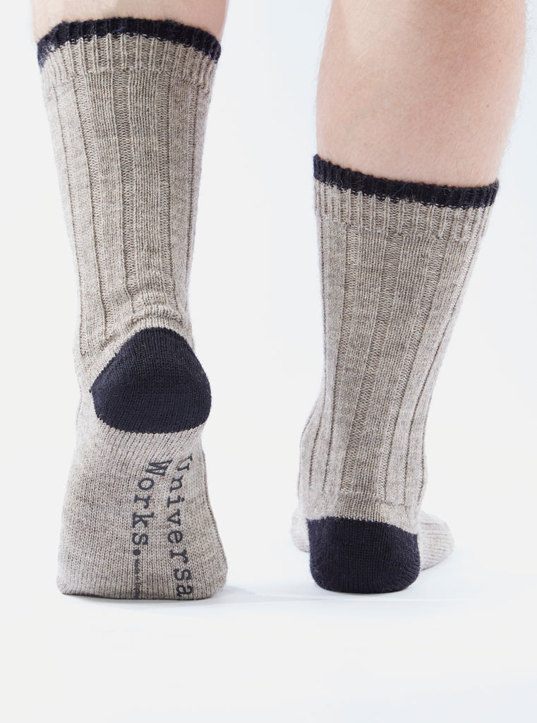 Universal Works Hike Sock In Stone Wool