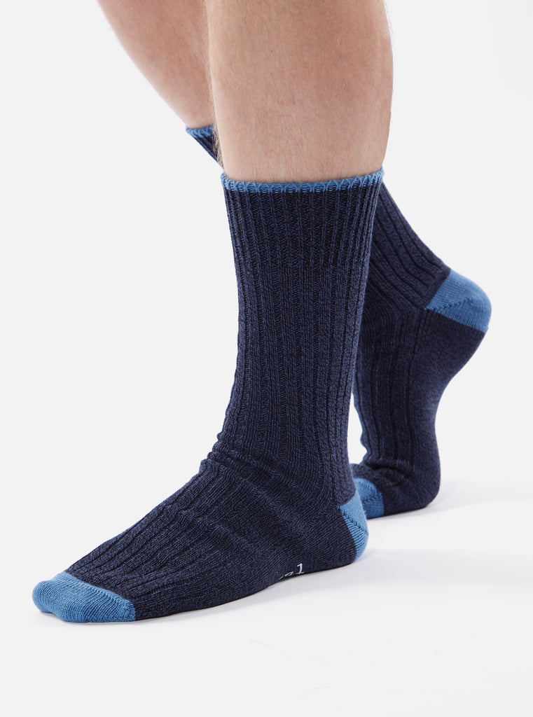 Universal Works Simple Sock In Navy Cotton