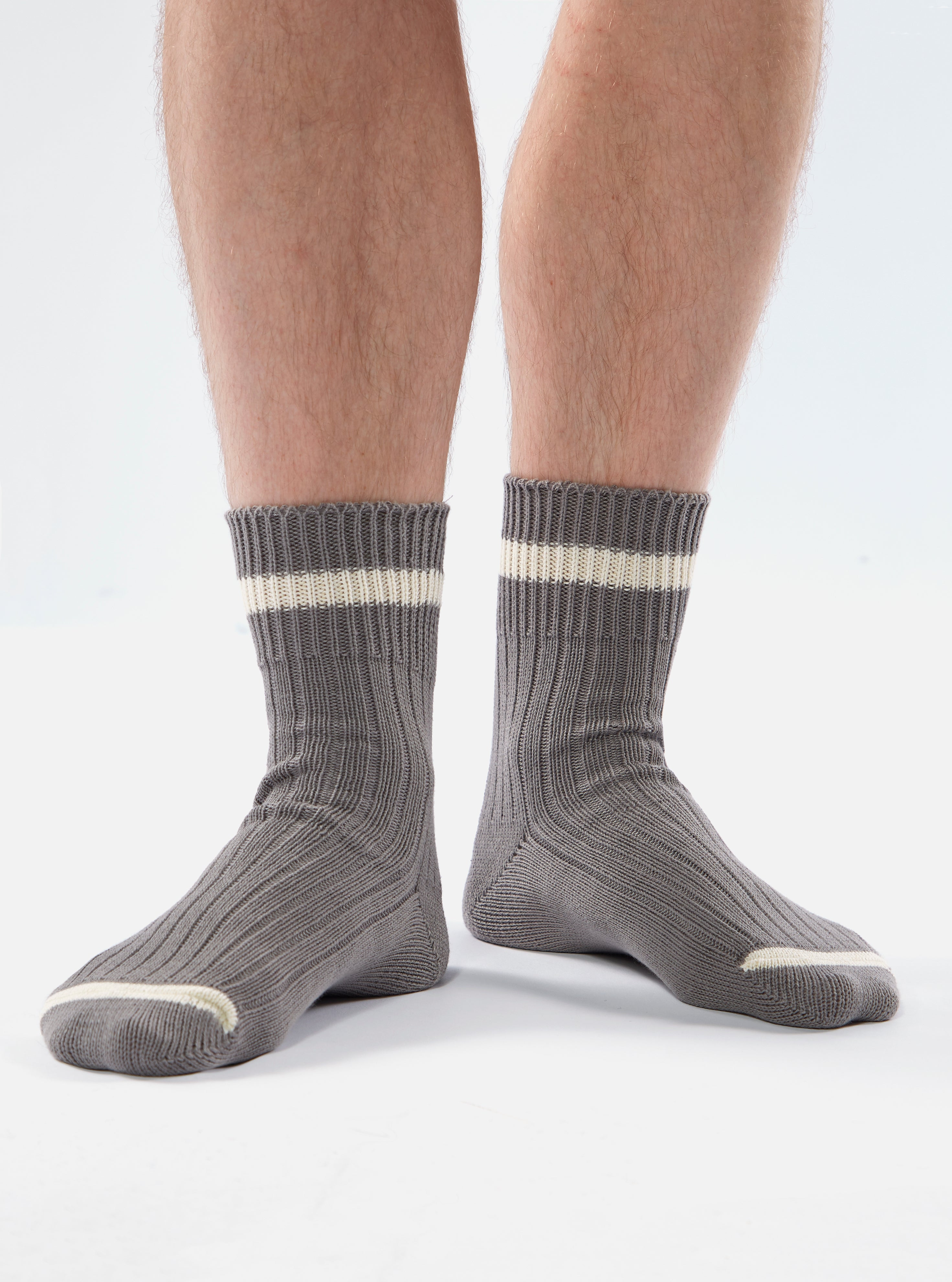 Universal Works Summer Sock In Grey Cotton