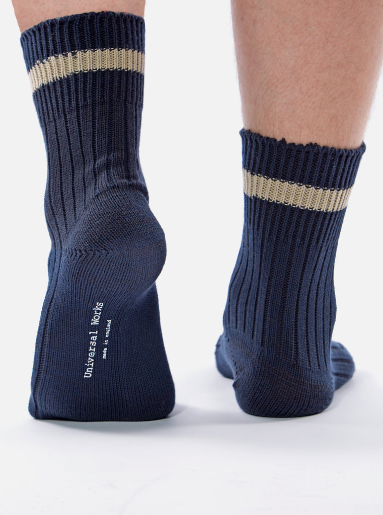 Universal Works Summer Sock In Midnight Cotton