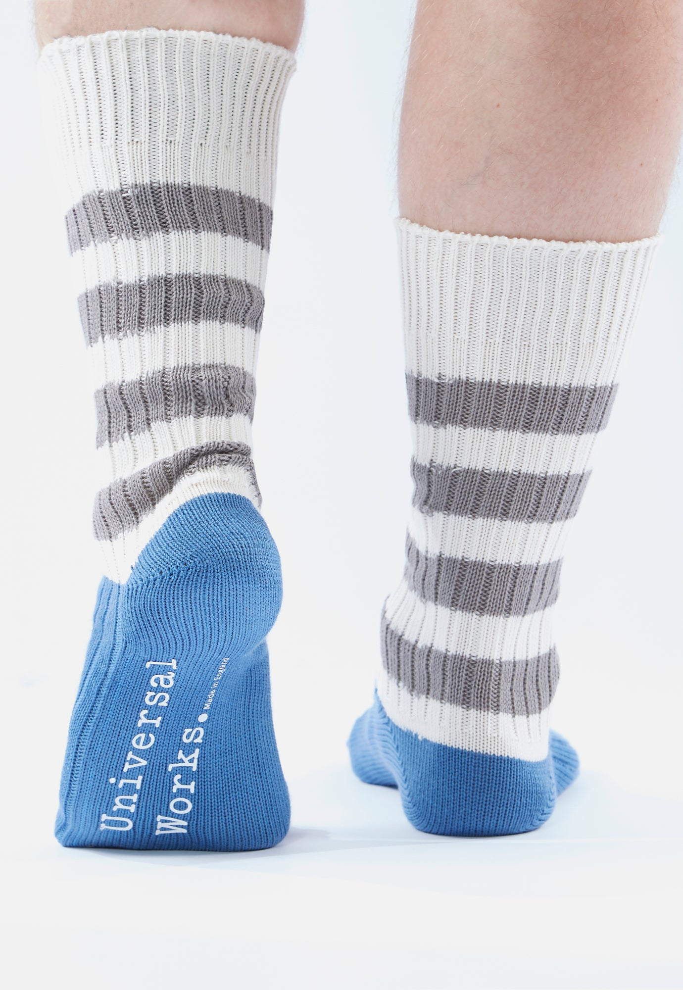 Universal Works Games Sock In Blue Cotton