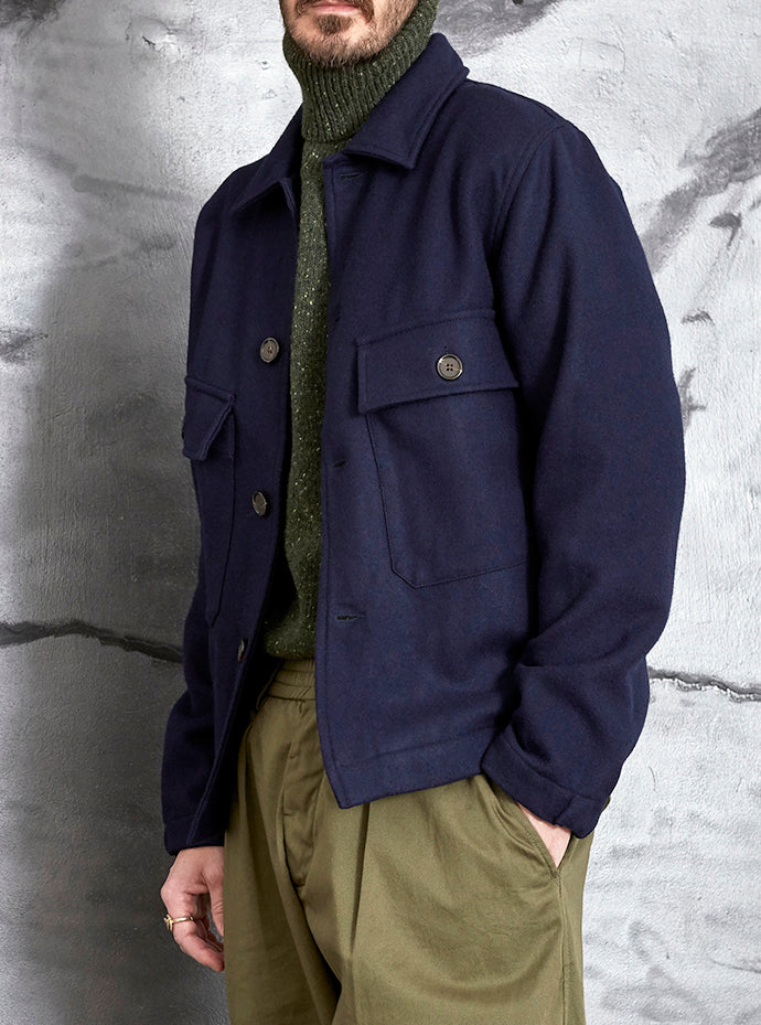 Universal Works Strummer Jacket in Navy Melton