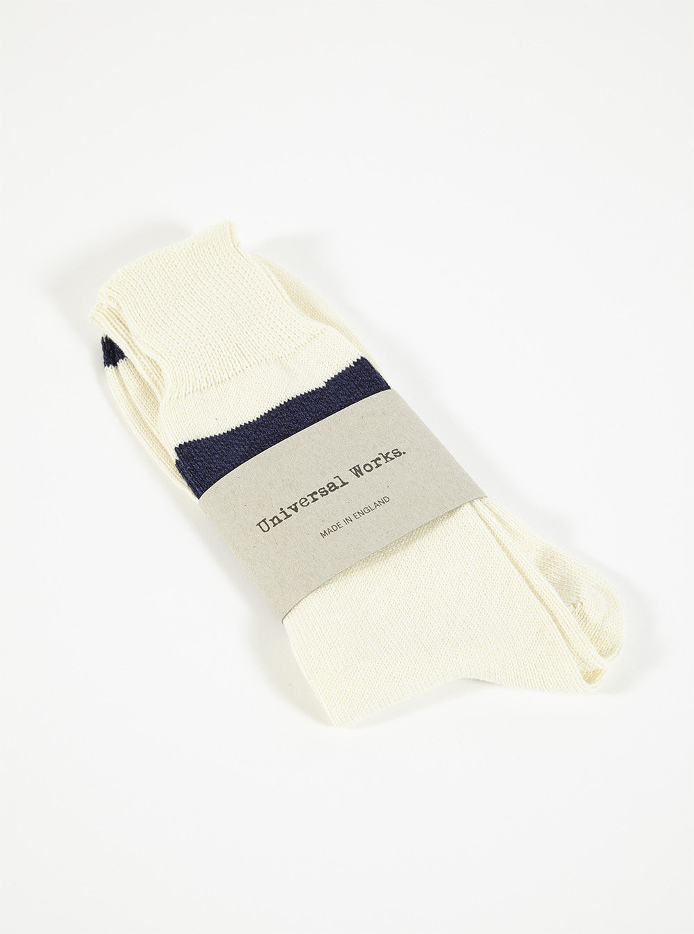 Universal Works Light Hoop Sock In Ecru Cotton