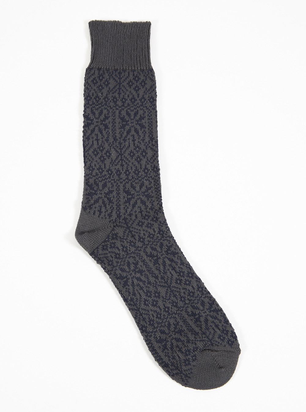 Universal Works Pattern Sock In Charcoal Cotton