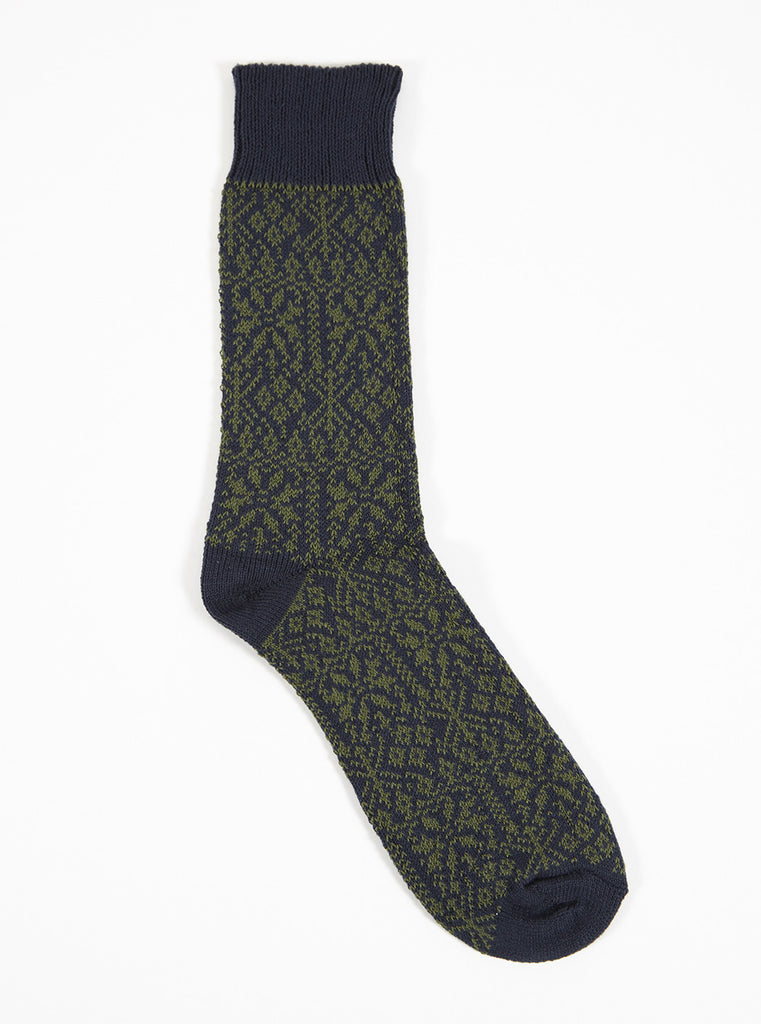 Universal Works Pattern Sock In Navy/Olive Cotton