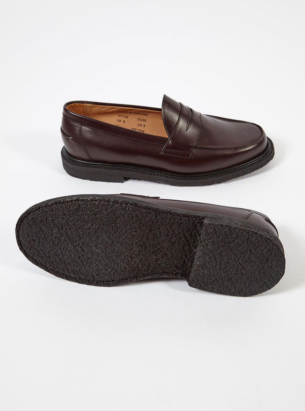 Universal Works X Sanders Penny Loafer In Burgundy Leather