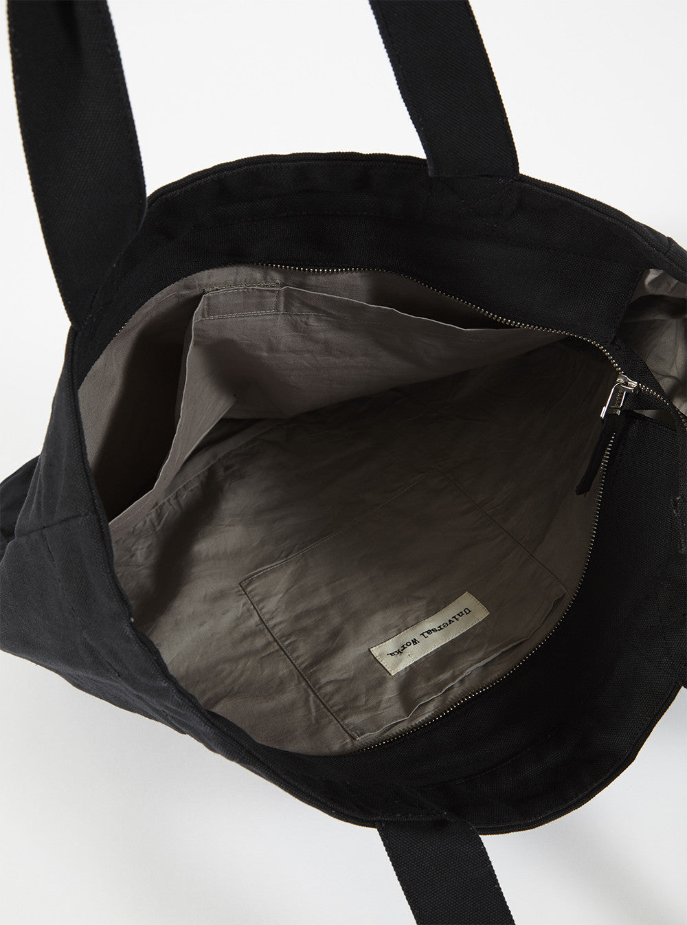 Universal Works Tote Bag In Black Canvas
