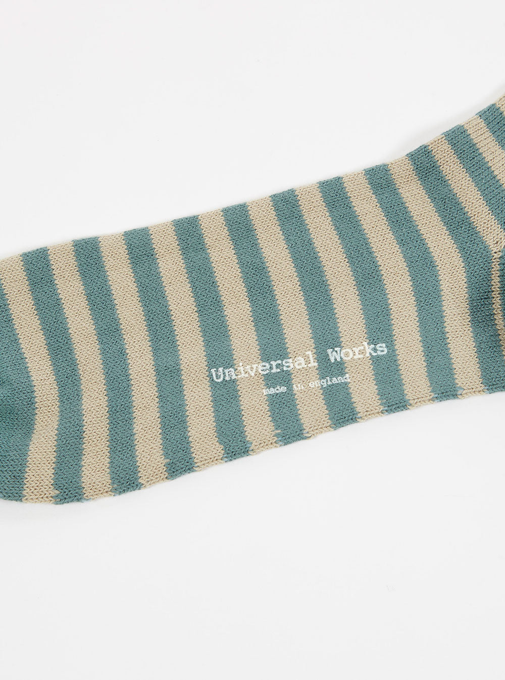 Universal Works Stripe Sock in Olive Cotton