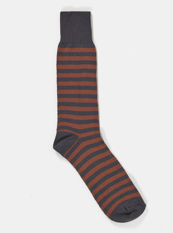 Universal Works Stripe Sock in Charcoal Cotton