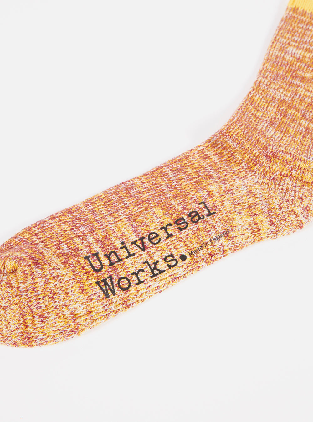 Universal Works Everyday Stripe Sock in Yellow Cotton