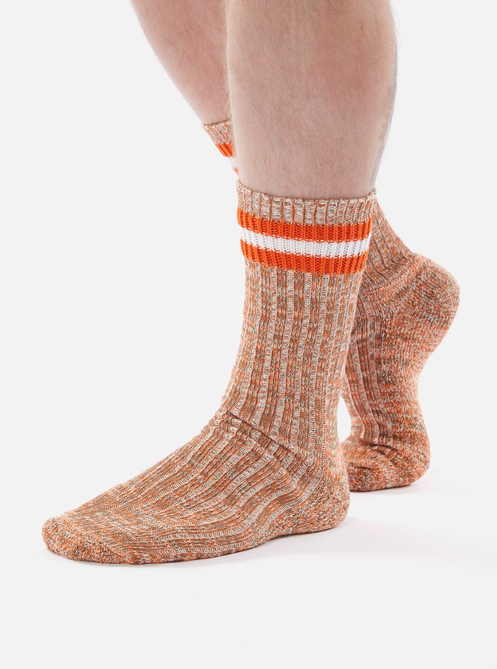 Universal Works Everyday Stripe Sock in Orange Cotton