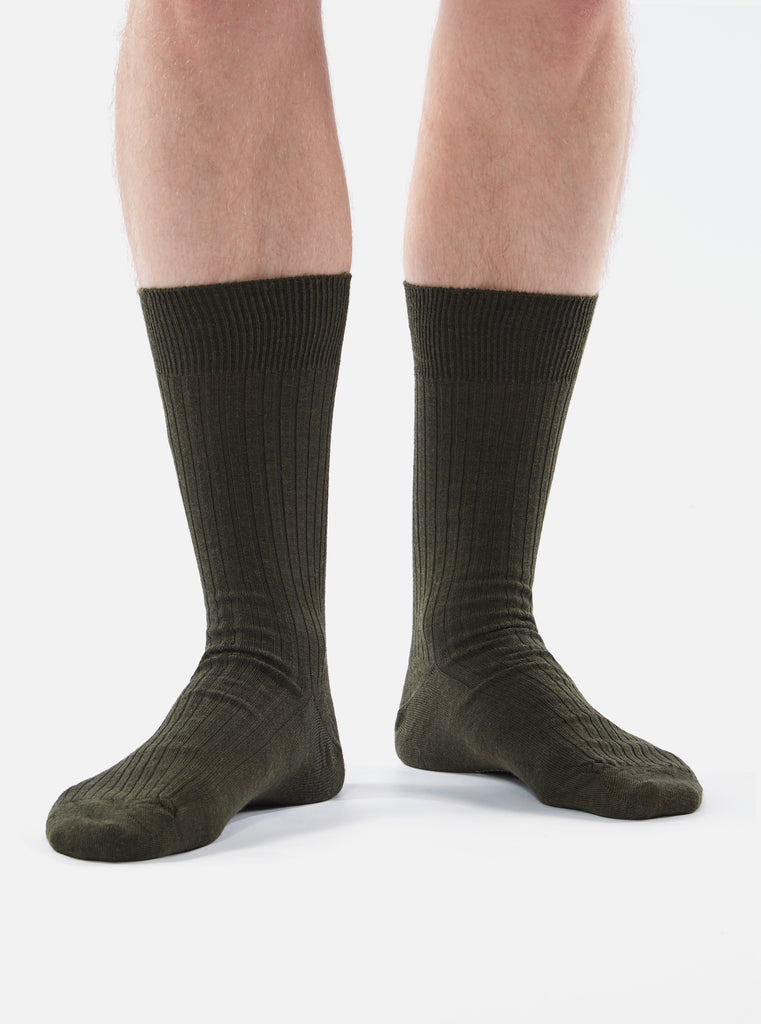 Universal Works Base Sock in Olive Merino