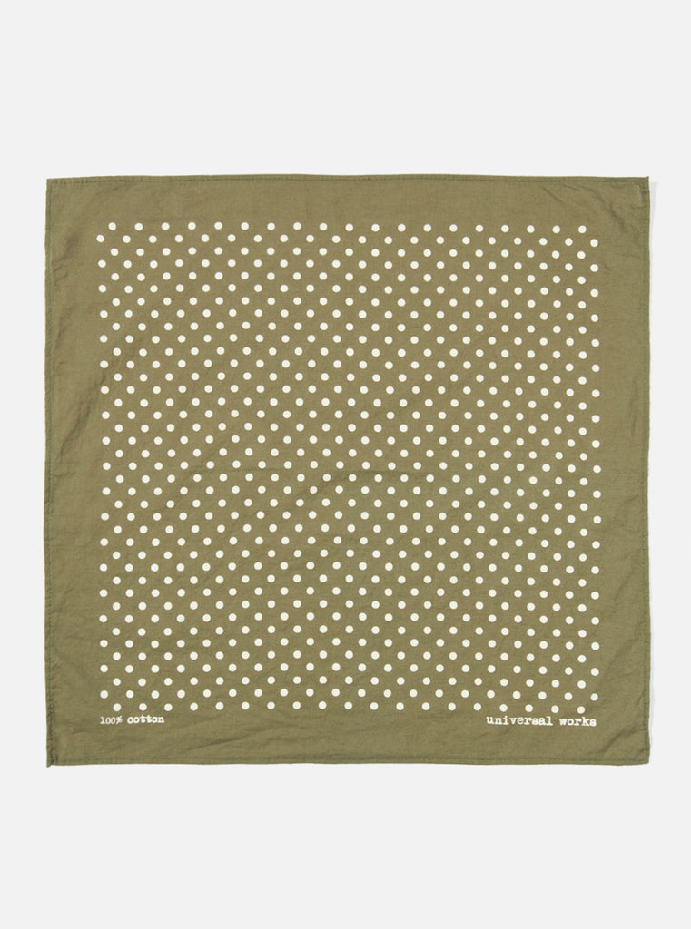 Universal Works Pocket Square in Green Classic Dot