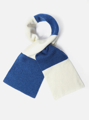 Deluxe Football Scarf in Ecru/Blue Soft Wool