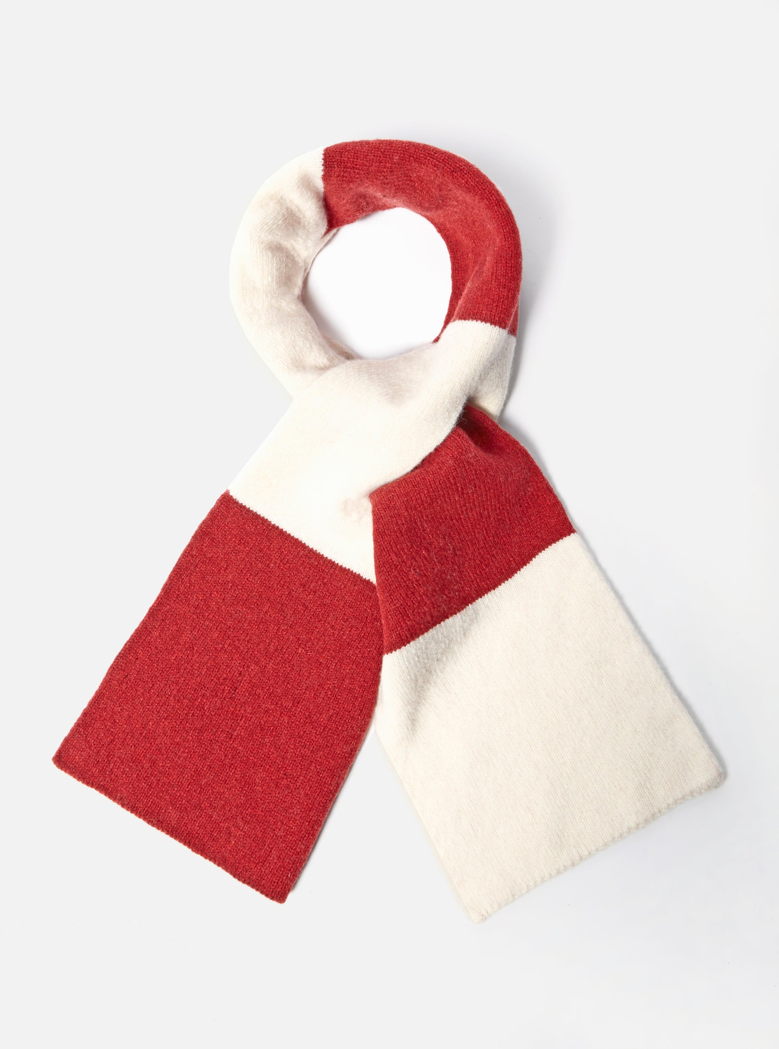 Universal Works Deluxe Football Scarf in Ecru/Red Soft Wool