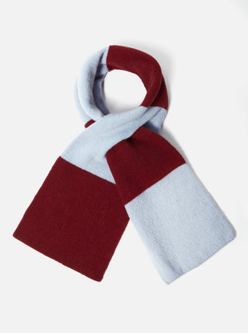 Deluxe Football Scarf in Sky/Claret Soft Wool