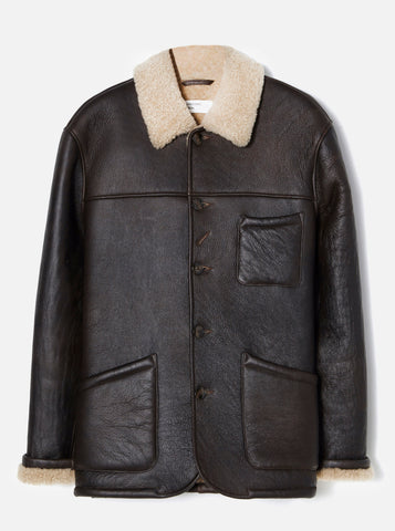 Sheepskin Bakers Jacket in Brown Sheepskin