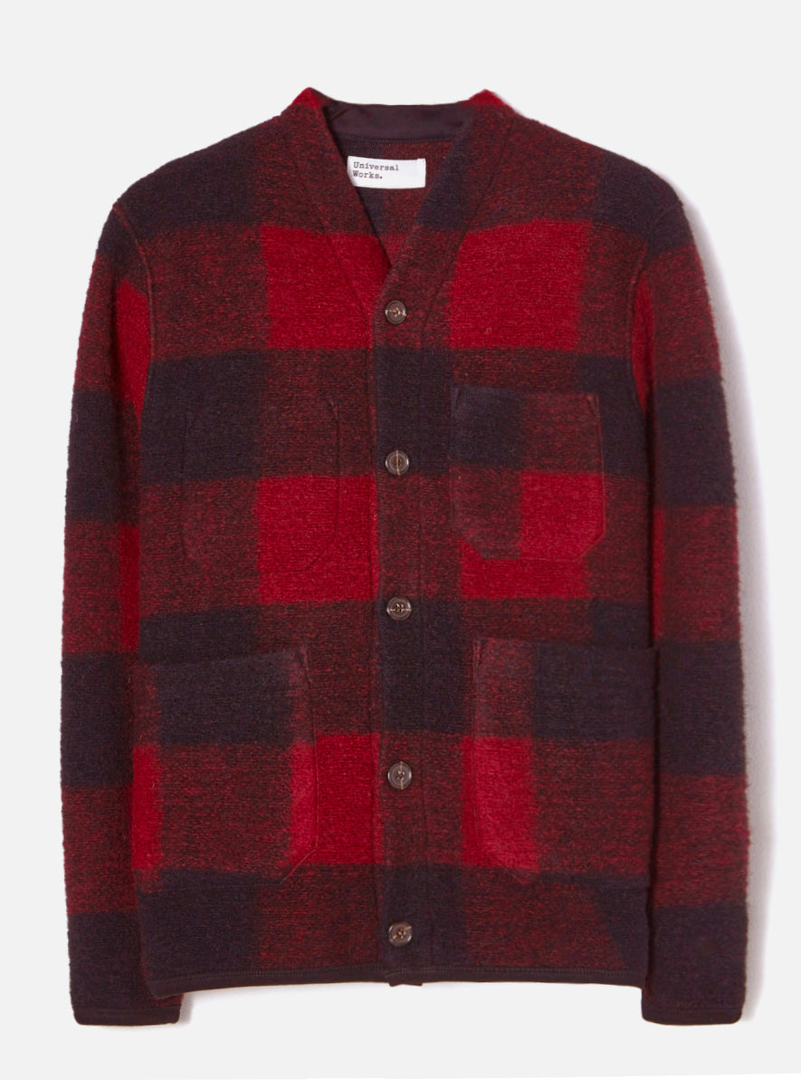 Universal Works Cardigan in Bright Red Wool Fleece