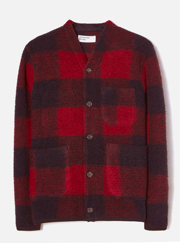 Cardigan in Check Wool Fleece