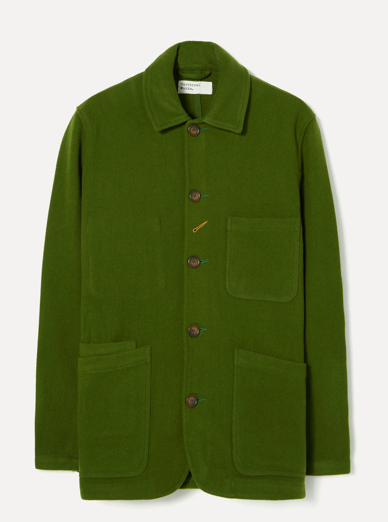 Universal Works Long Bakers Jacket in Green Mowbray