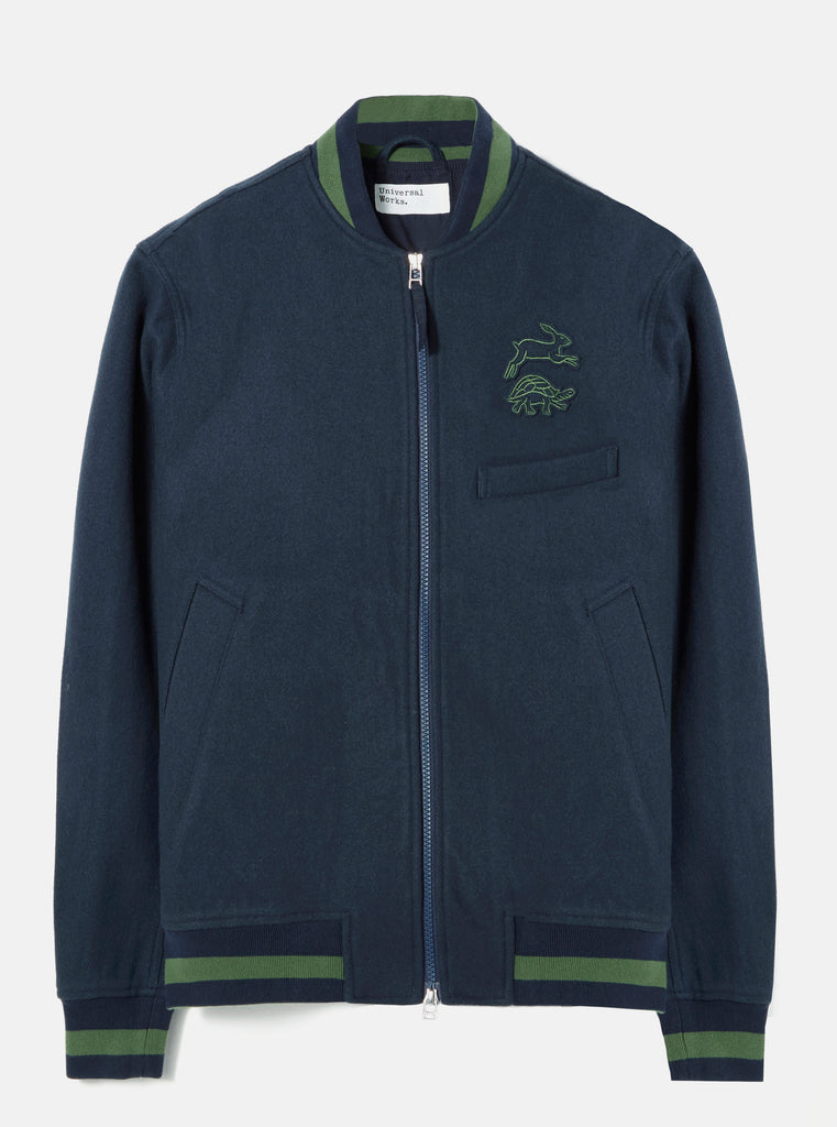 Universal Works Bomber Jacket in Navy Embroidered Mowbray