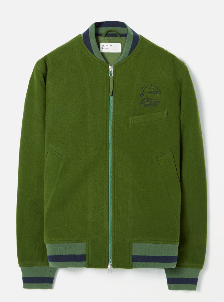 Universal Works Bomber Jacket in Green Embroidered Mowbray