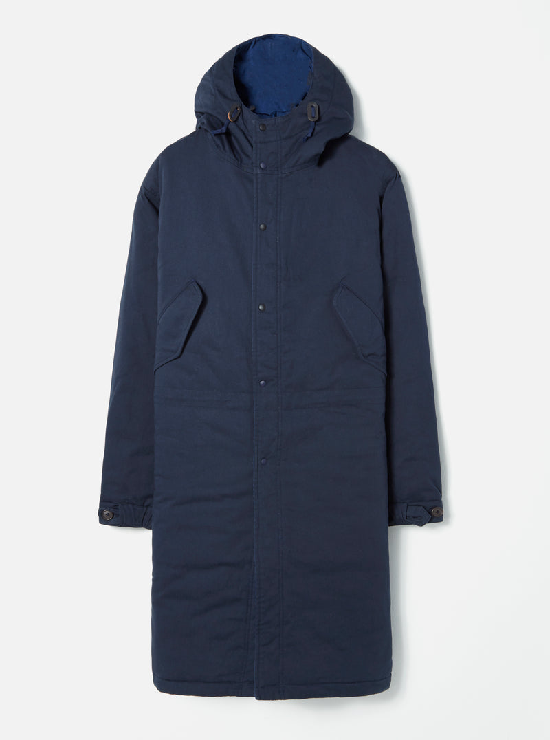 Universal Works Reversible Parka in Navy Vintage Nylon/Twill