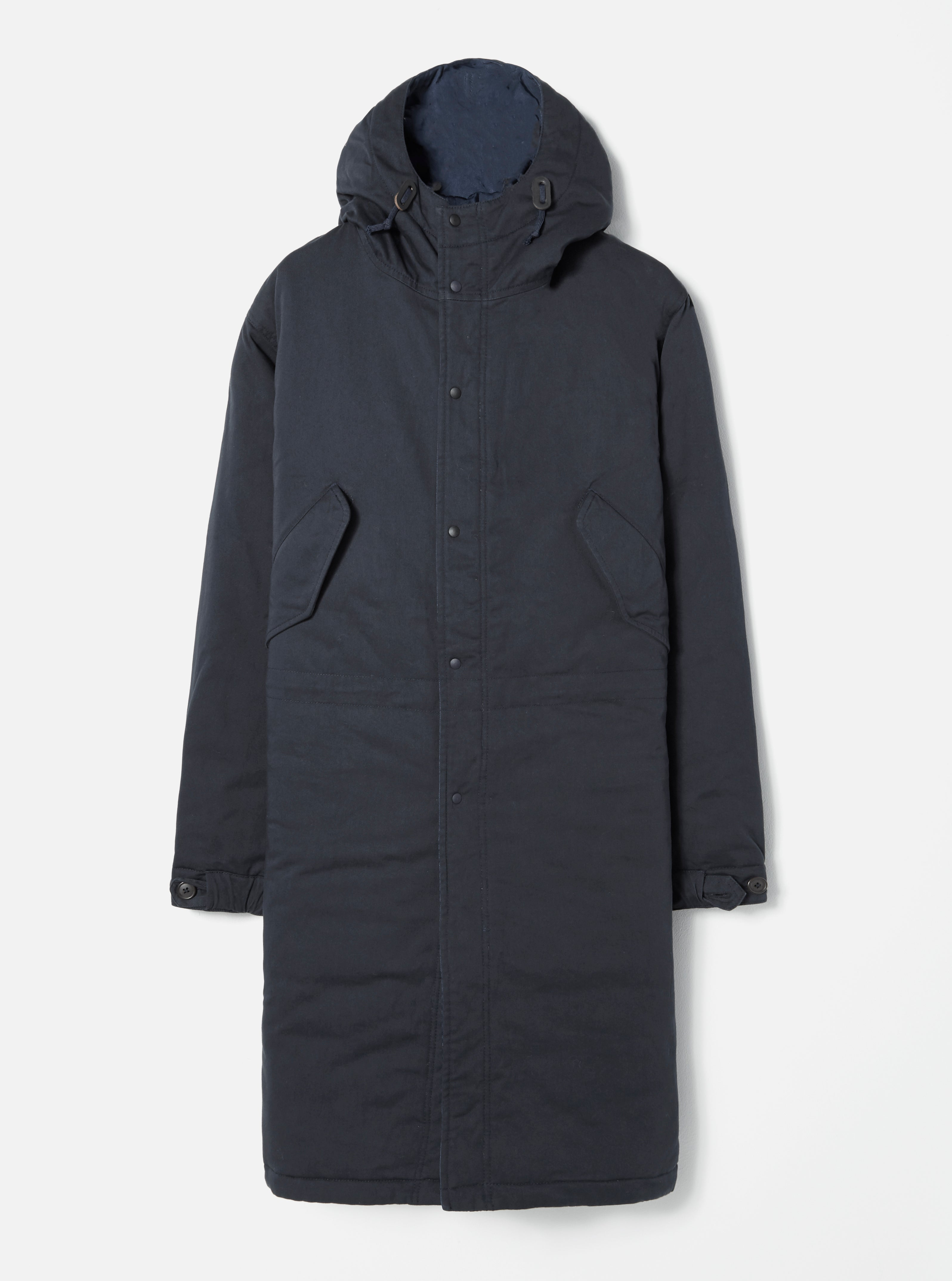 Universal Works Reversible Parka in Black Vintage Nylon/Twill