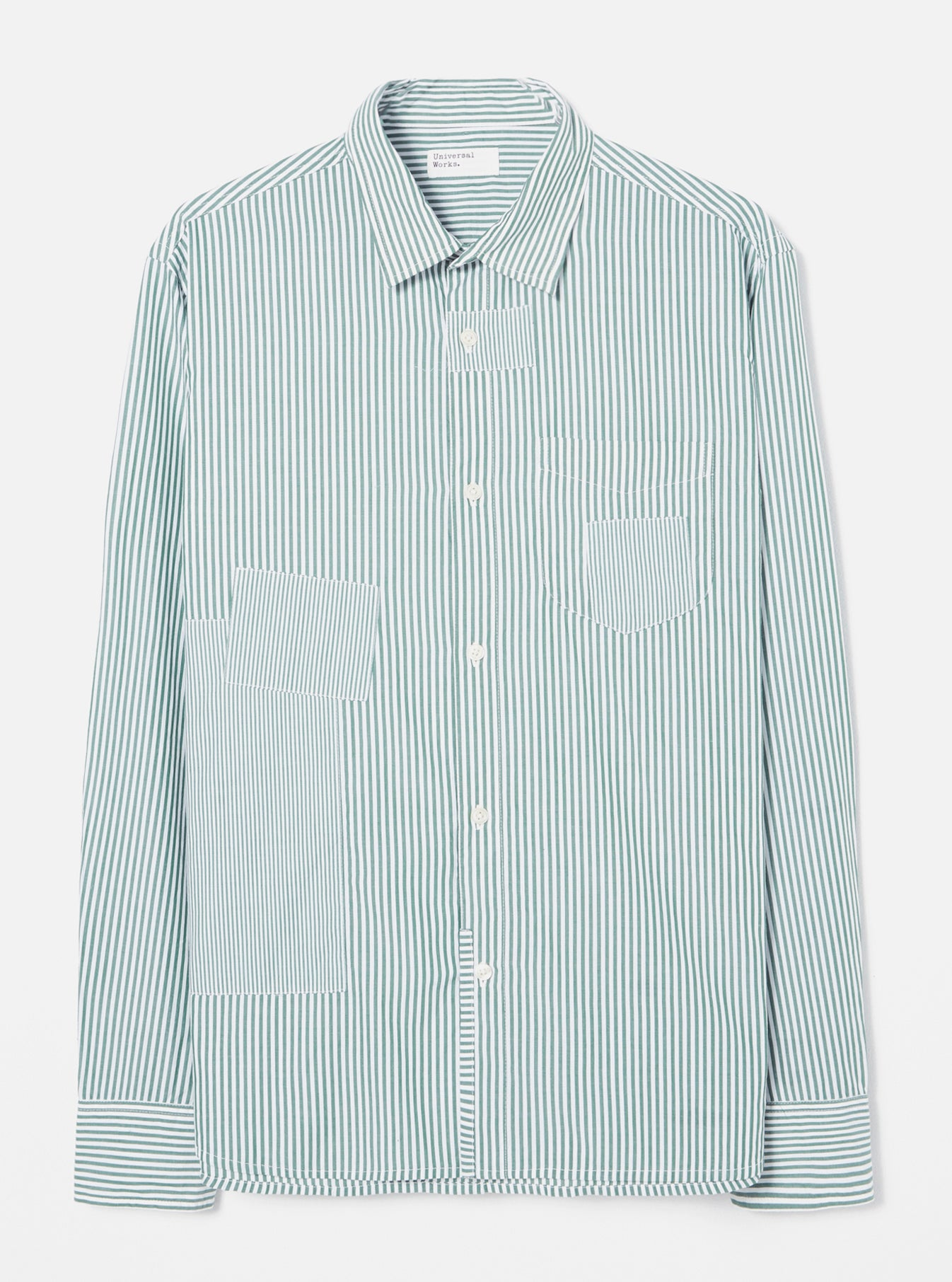 Universal Works Patch Shirt in Green Classic Stripes