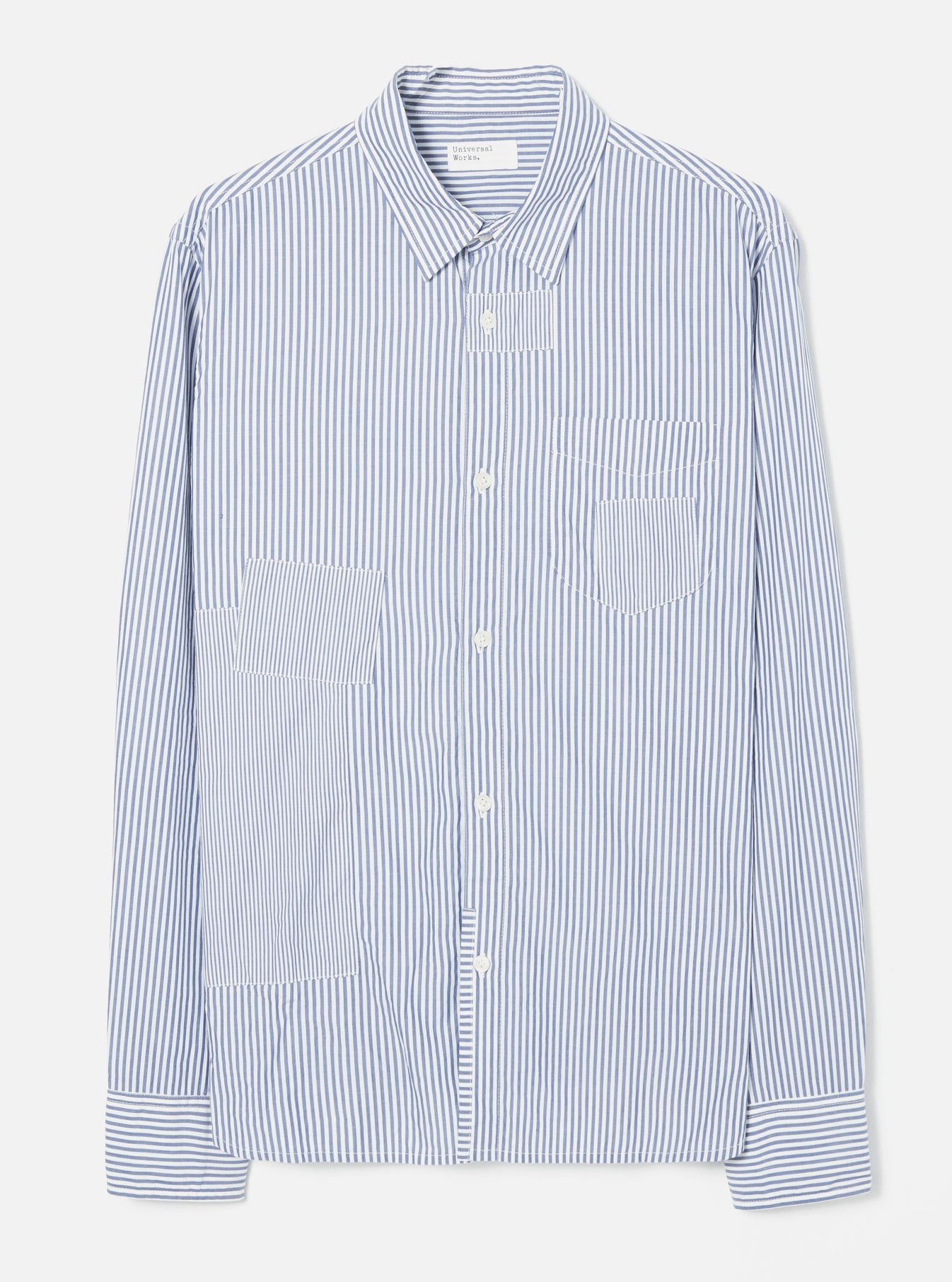 Universal Works Patch Shirt in Navy Classic Stripes