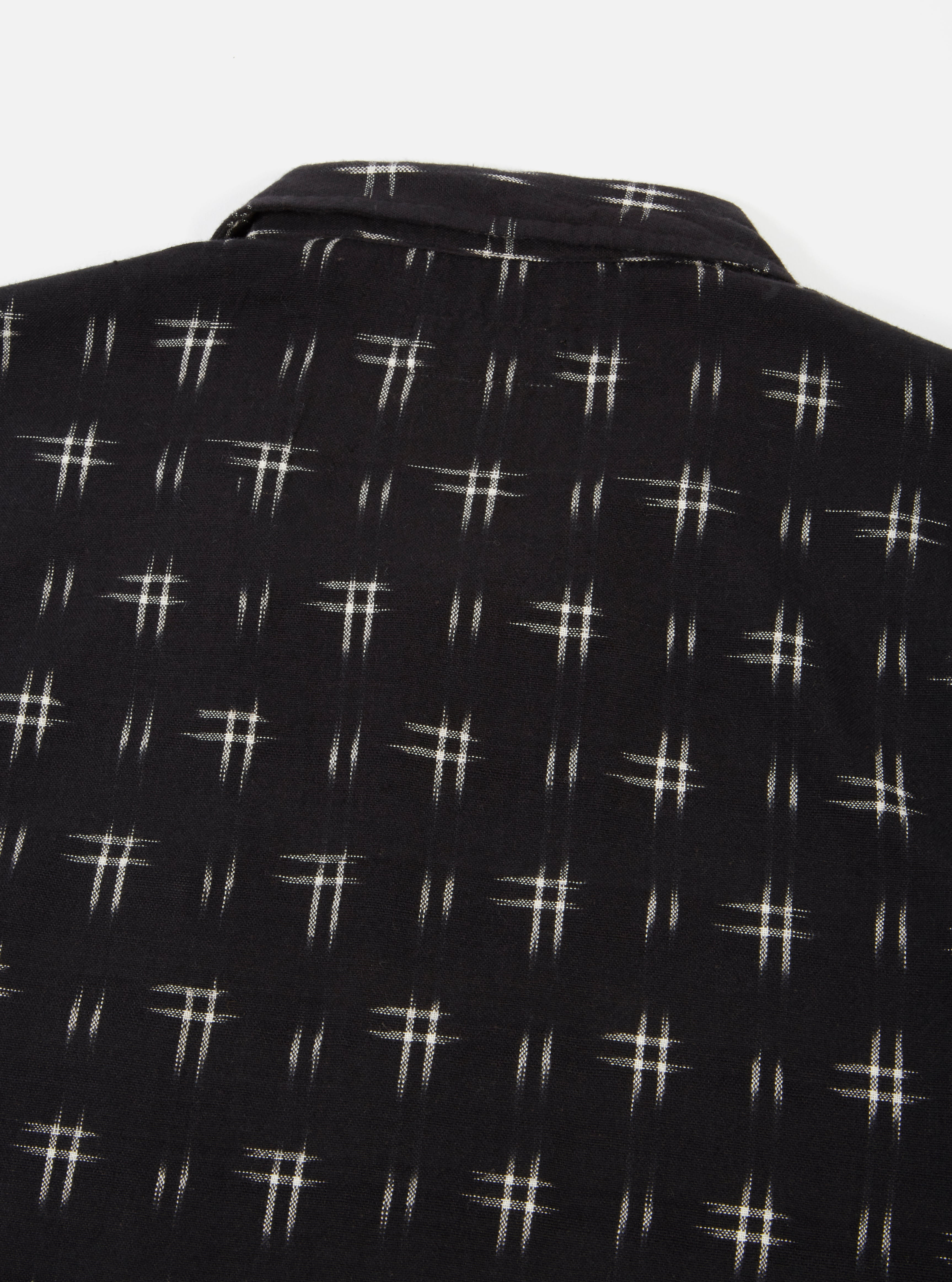 Universal Works Garage Shirt in Black Double Ikat #