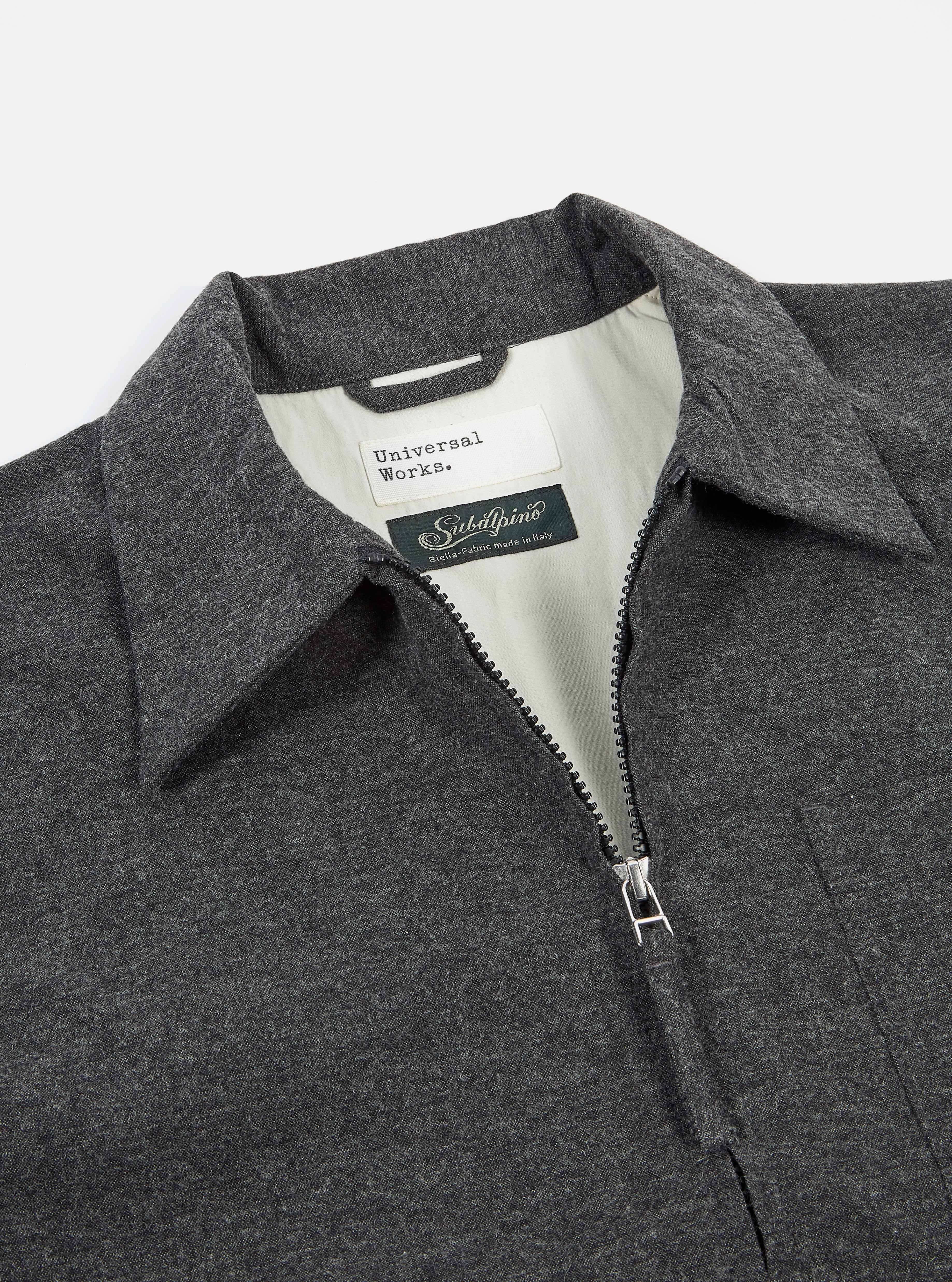 Universal Works Rose Bowl Jacket in Grey Italian Cot/Wool Mix