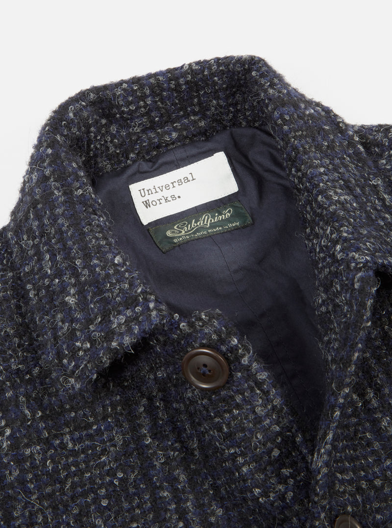 Universal Works Bakers Jacket in Navy Alpino Pow Plaid