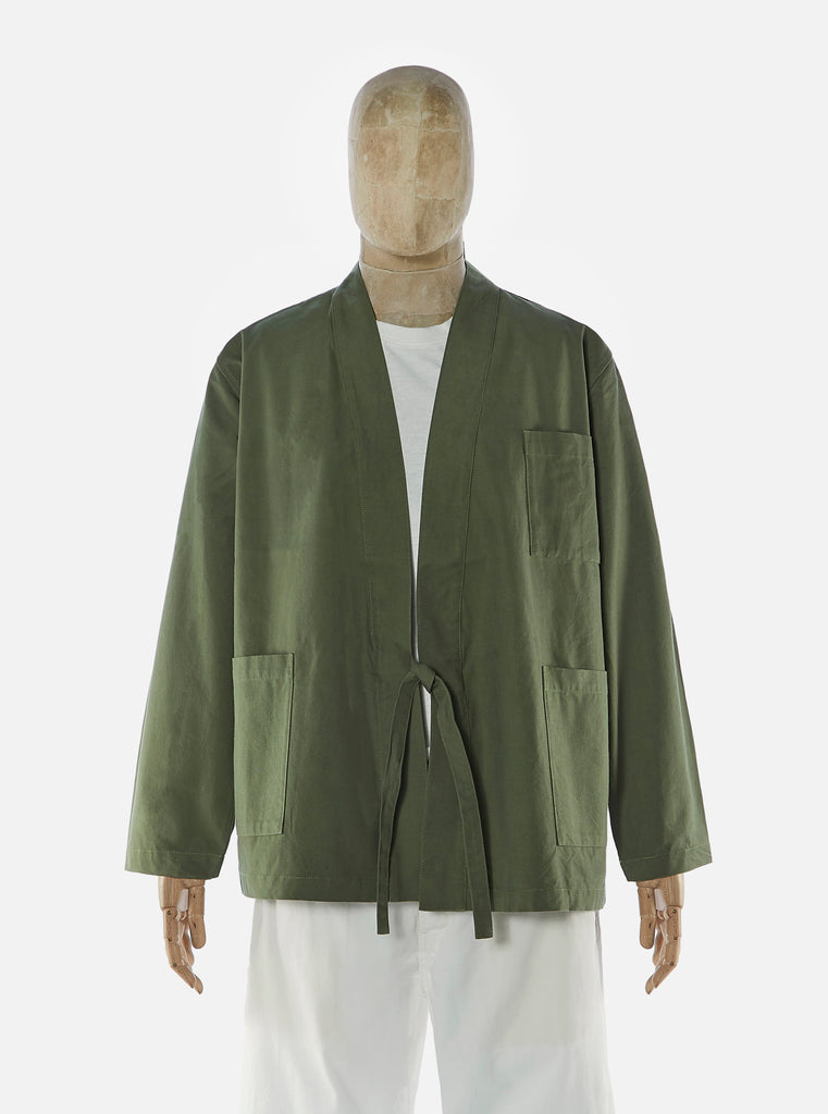 Universal Works Kyoto Work Jacket in Olive Military Slub Cotton