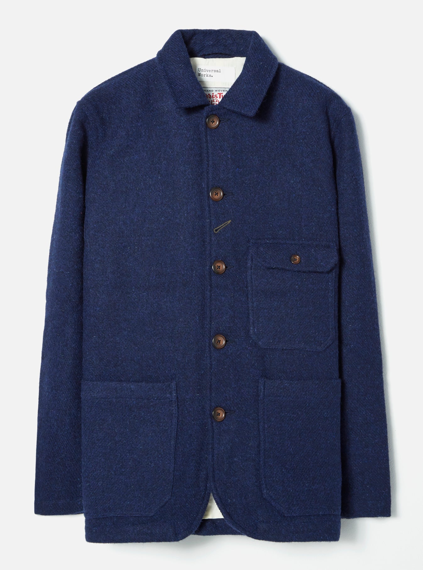 Universal Works Norfolk Bakers Jacket in Indigo LW Harris Tweed