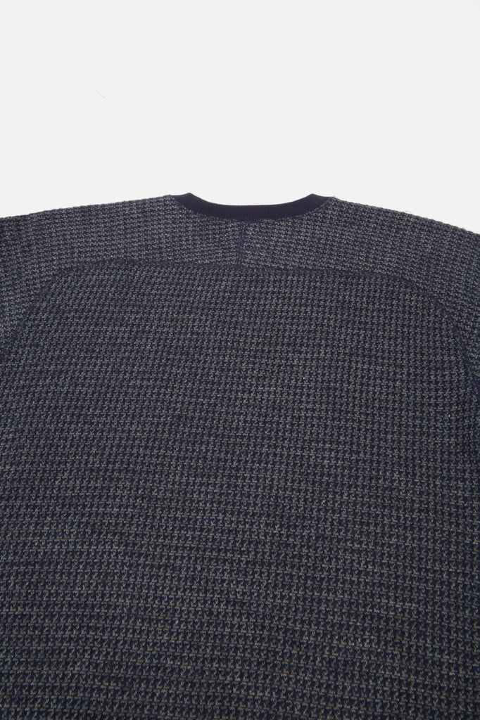Universal Works Raglan Sweatshirt in Navy Houndstooth Jersey