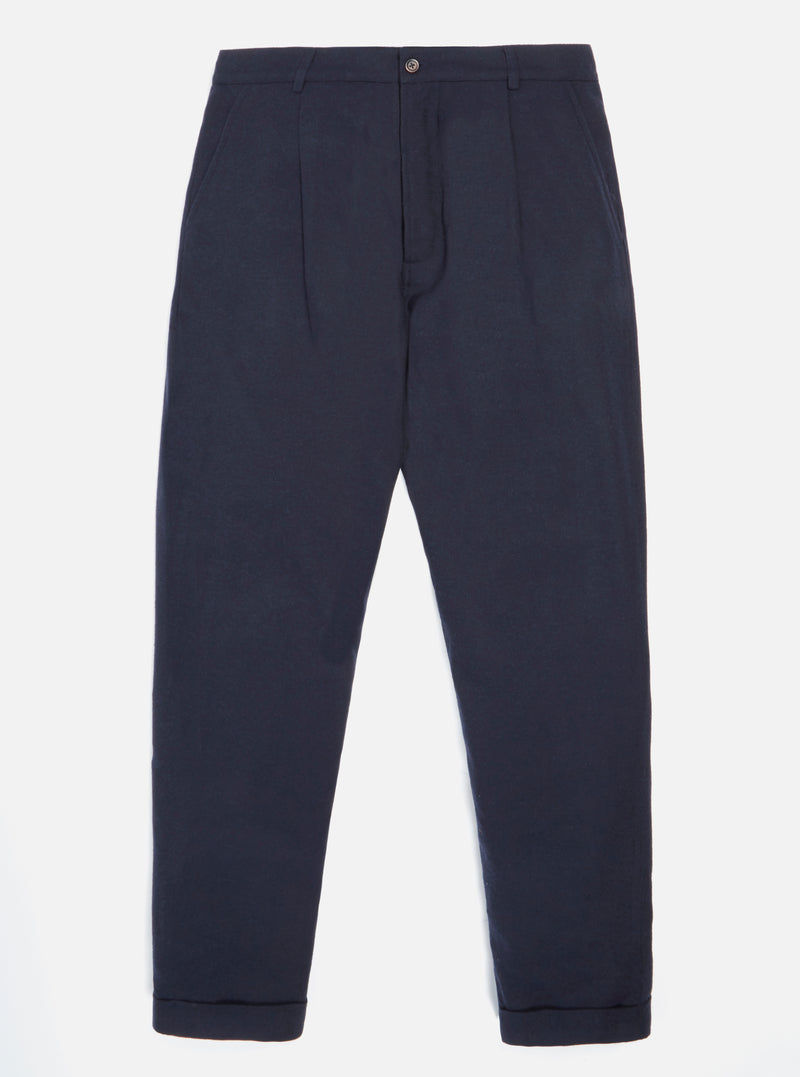 Universal Works Pleated Pant in Navy Wool Marl