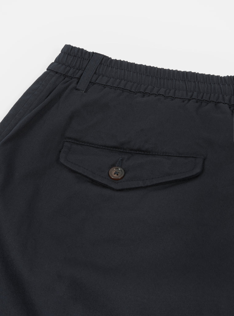 Universal Works Pleated Track Pant in Black Twill