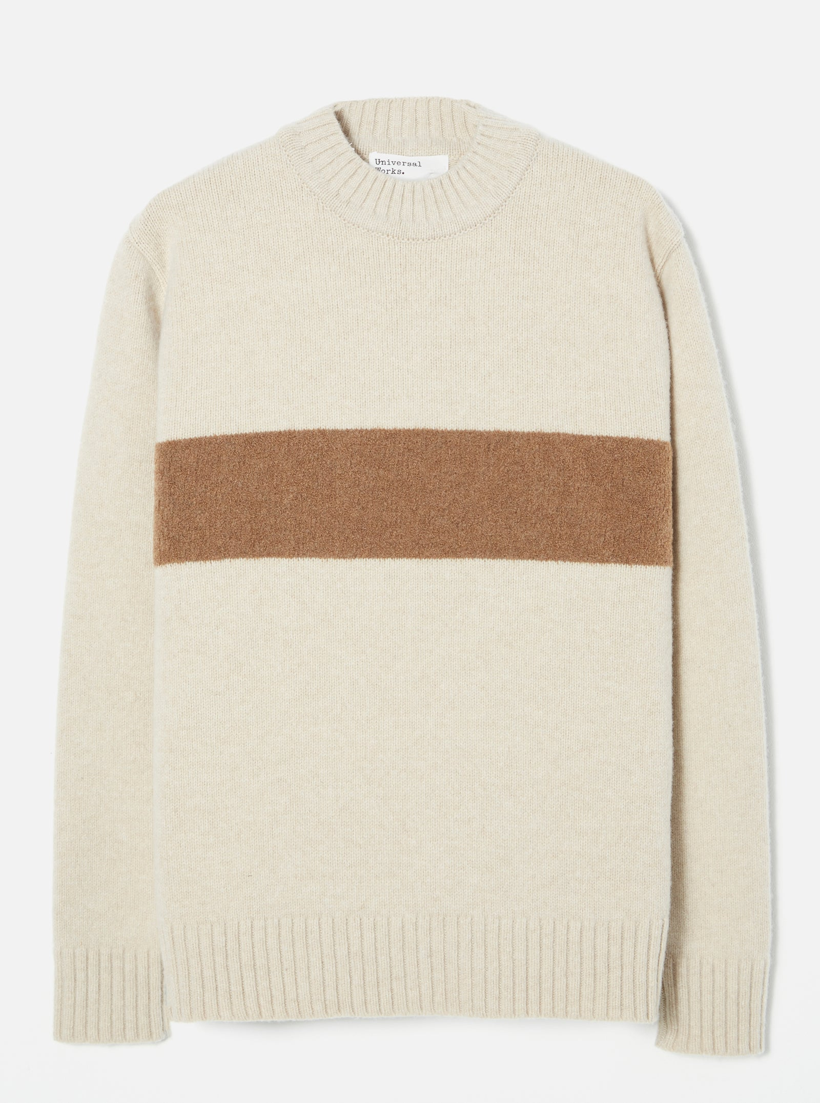 Universal Works Chest Stripe Crew in Sand Soft Wool