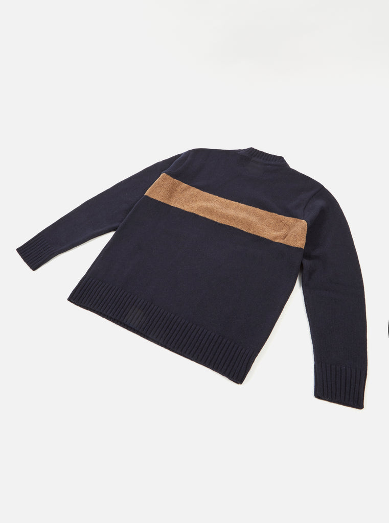 Universal Works Chest Stripe Crew in Navy Soft Wool