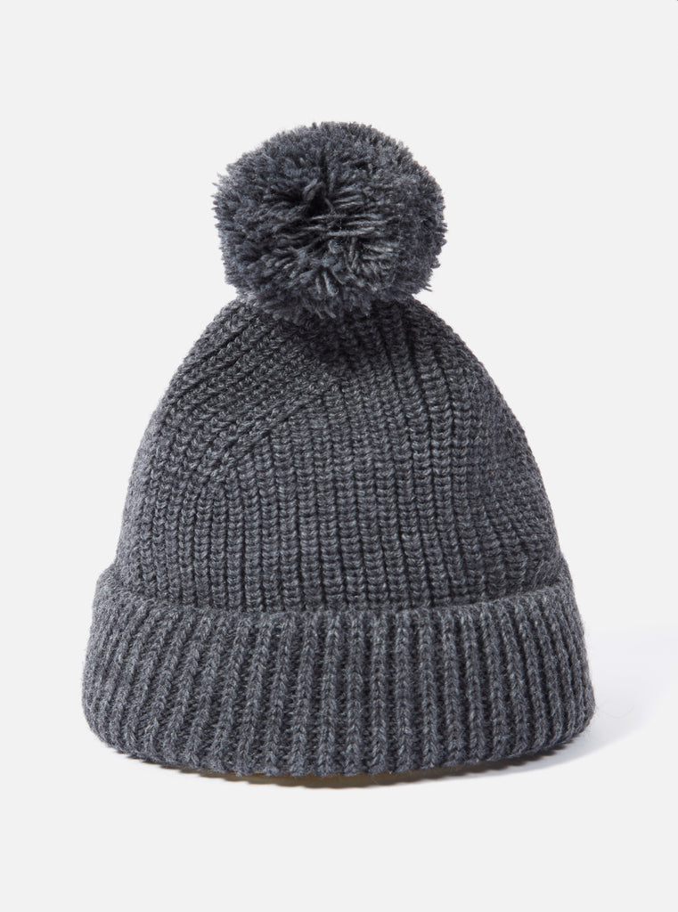 Universal Works Bobble Hat in Charcoal Alpacawool